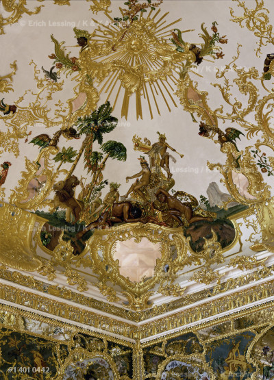Ceiling of the Mirror Cabinet, Wuerzburg Episcopal     Residence. Stucco by Antonio Bossi. The room           was completely destroyed during an airraid in 1945,    but reconstructed from photographs and a watercolour.