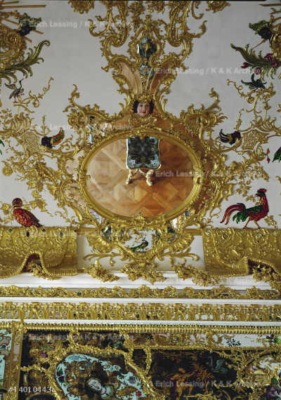 Ceiling of the Mirror Cabinet, Wuerzburg Episcopal     Residence. Stucco by Antonio Bossi. The Mirror Cabinet was completely destroyed during an airraid in 1945,    but was reconstructed from photographs and one         watercolour.