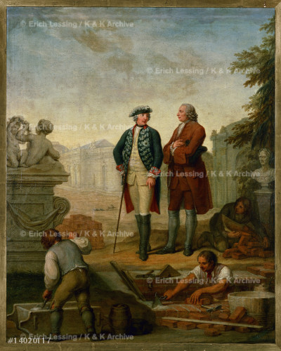 Friedrich II,King of Prussia (1712-1786) and the       Marquis d'Agens during the construction of the         palace of Sanssouci at Potsdam.