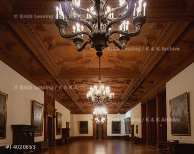 "The ground floor hall of ""Villa Huegel"", former home   