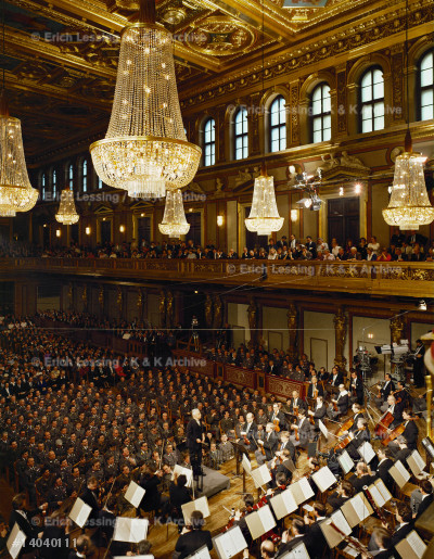 """Herbert v.Karajan conducting the Vienna Philharmonic   in the """"Golden Hall"""" of the Musikverein, the building  of the Society of the Friends of Music."""