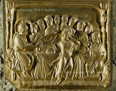 The Last Supper. Detail of the golden                  