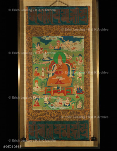 """Lama, surrounded by 14 mahasiddhas.                    Tangka from the series of the """"great magicians"""".       Gouache on canvas, 68 x 47 cm                          MG 21241"""