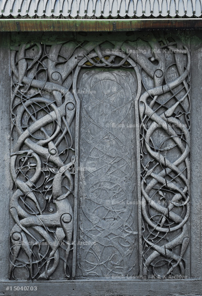 Urnes stave church, woodcarving, intertwined vegetal   