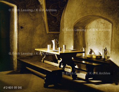 A medieval tavern. Reconstruction                      