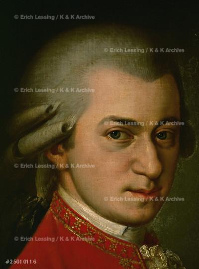 Wolfgang Amadeus Mozart.                               Posthumous portrait.                                   Detail, close-up of 25-01-01/15.                       Oil on canvas (1819)