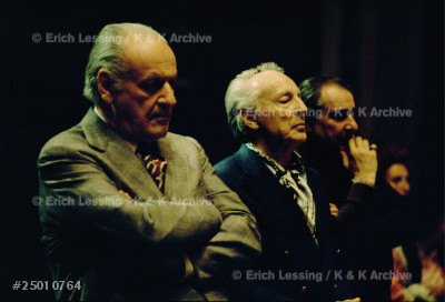 Watching a researsal at the Palais Garnier are         director Rolf Liebermann (left) and choreographer      Georges Balanchine, Paris,1973