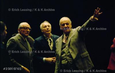 Director of the Paris Opera Rolf Liebermann (right),   choreographer Georges Balanchine (center) and director Rene Clair (left),at the Palais Garnier,Paris,1973.