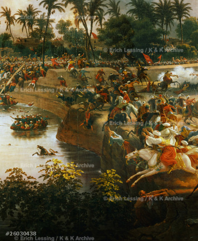 Battle of the Pyramids, July 21, 1798, in which        Napoleon defeated the Mamelouks.                       Detail                                                 Oil on canvas, 180 x 258 cm
