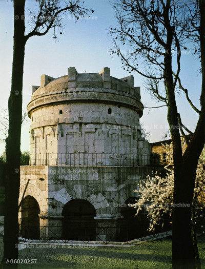 Tomb of Theoderic, King of the Goths. The stone         monument which is covered by a monolithic dome,         11 m in diameter. It was erected on order from  Theoderic's      daughter in 526 CE.