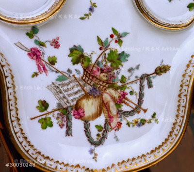 """""""Tete a tete"""", a breakfast set for two.                Detail of the tray from 30-03-02/47.                   From Gotha.                                            1775-1780"""