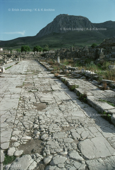 Lechaion Street in Corinth.                            View towards Acrocorinth.                              Saint Paul preached in Corinth.