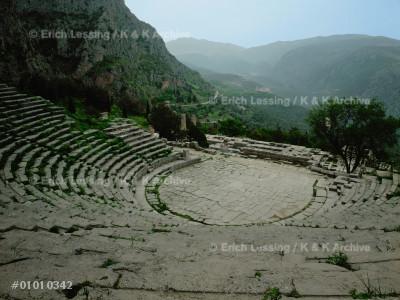 The Theatre of Delphi,                                 restored in 159 BCE.