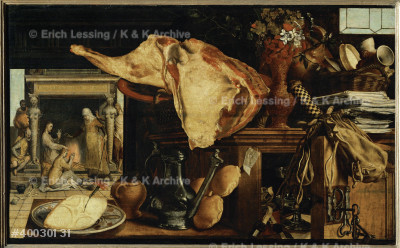 Vanitas. Still-life. In the background Jesus