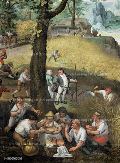 Summer landscape (July, August):                       Harvesters resting and eating. Detail.                 Canvas (1585)                                          Total size 116 x 198 cm                                Inv. 1060