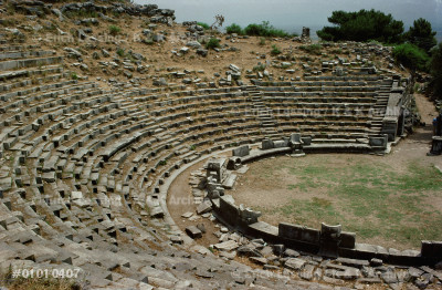 The theatre of Priene, one of the best                 preserved of the early Greek theatres.                 It could seat 5000 spectators.