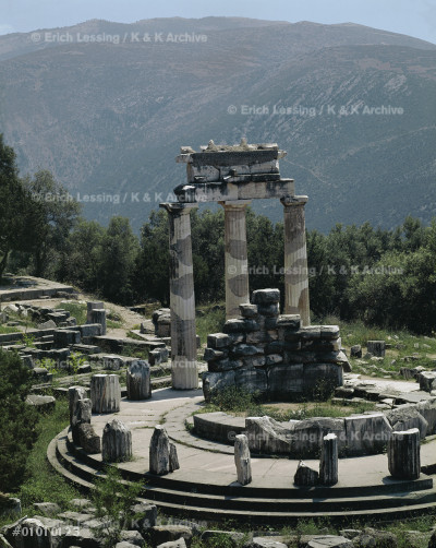 The Tholos, sanctuary of Athena Pronaia, Delphi, is a  circular building which may have replaced an earlier   snake sanctuary.                                       (370-360 BCE)                                          Size: 13.5 m across