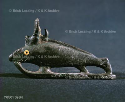 Fish with crown of Hathor, deity of the sky, joy, life.Bronze, 1st millenium BCE, New Kingdom, Egypt.