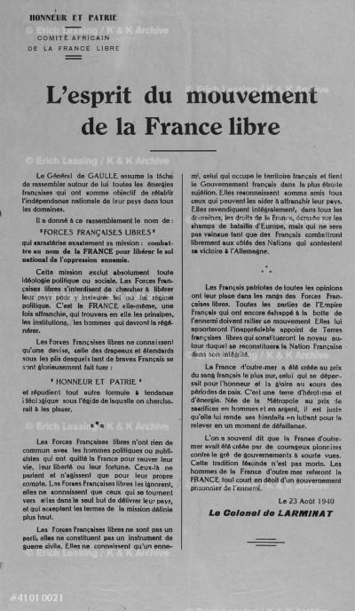 Declaration du Col. de Larminat du Comite Africain     de la France Libre,declarant que le Tchad,sous la      conduite du Gouverneur Eboue et du Commandant          Colonna d'Ornano, c'est rallie au movement du          General De Gaulle.23 Aout 1940.