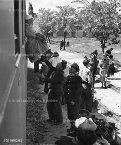 Ethnic Turks expelled from Bulgaria flee to Edirne, Turkey, 1951.  Arrival by train.