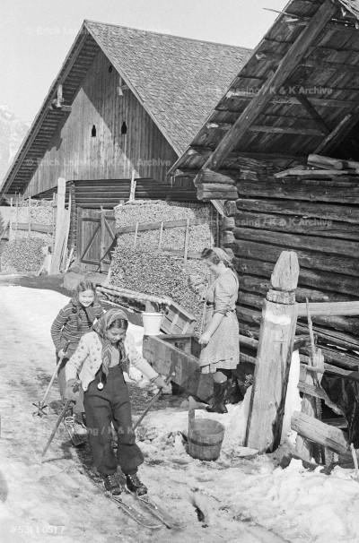 Children in the Austrian Enns valley ski to school.     Passing a neighbour's farm.