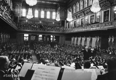 Clemens Krauss conducting the Vienna Philharmonic Orchestra at the Musikverein concerthall in Vienna. The great conductor died a few weeks later in Mexico.