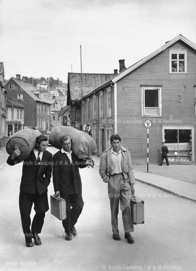 Sailors walking to their ship. Bergen, Norway, 1954