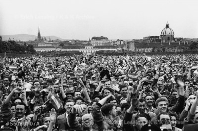 Jubilant crowd outside of the Belvedere palace, where the Austrian State Treaty was signed. 