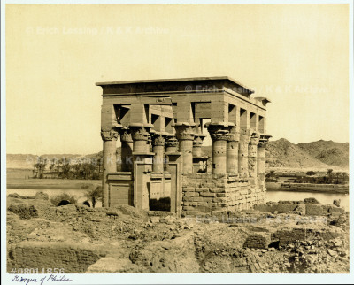 The kiosk of Philae,still on its original island,      which was partially flooded behind the old Aswan-Dam   in 1896.Under a UNESCO project,the temples of philae   were removed to the near-by island of Agilkia between  1970-1980. See also:08-01-03/27-32
