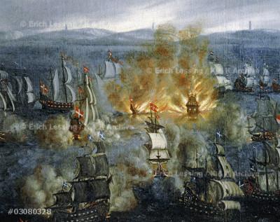 Battle at Öland 1676, Skånska kriget, (Scania war), the war between Denmark and Sweden. The ship burning is the Swedish royal ship Svärdet (The Sword). Canvas; 17th century.