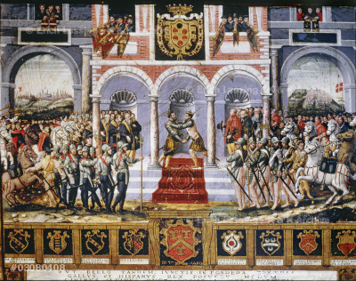 The celebrations following the Peace of Cateau-Cambrésis (April 3, 1559), agreement marking the end of the 65-year (1494–1559) struggle between France and Spain for the control of Italy, leaving Habsburg Spain the dominant power there for the next 150 years. Sienese school; 15th century.