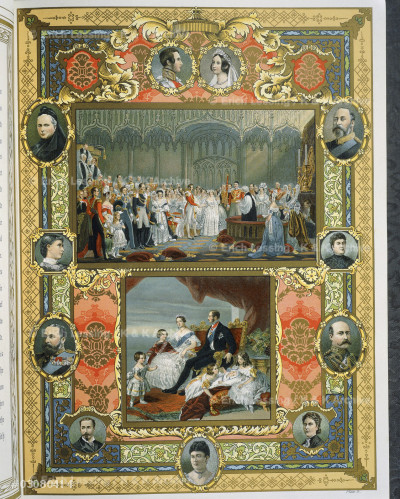 Marriage ceremony of Queen Victoria and Albert of Saxe-Coburg-Gotha in 1840 and family portrait with their children. Lithograph from Her Majesty's glorious Jubilee, 1897. The record number of a record reign. Published by the proprietors of the Illustrated London News. Author: Sir Walter Besant. London; 1897.