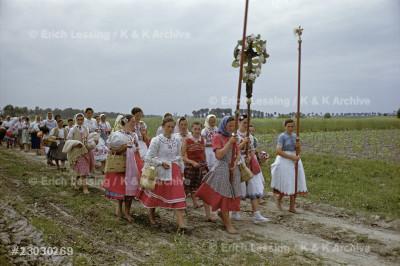 Corpus Christi procession in Kalocsa, May 31, 1956.