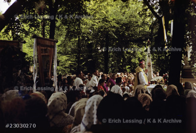 Archbishop Jozsef Grösz of Kalocsa, released from prison on May 12, 1956, celebrates an open-air mass on Corpus Christi day, May 31, 1956.