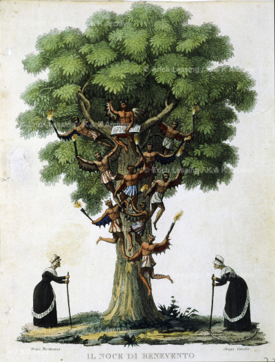 """Setting for Niccolò Paganini's ballet """"Il Noce di Benevento"""". - """"The Witches' Tree"""". Etching; 1780."""