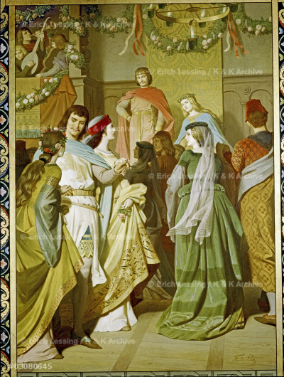 """Court life at the Castle of the Holy Grail (Richard Wagner's opera """"Parzival""""). Wallpainting; Neuschwanstein Castle."""