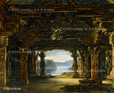 "Stage set for the opera ""Siegfried"" by Richard Wagner (1813-1883). Act I. Watercolour; 19th century.
