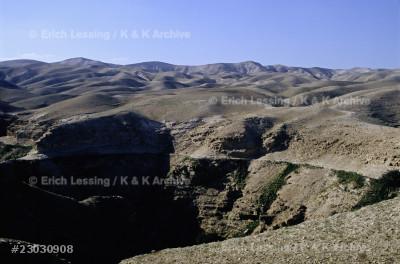 Desert of Juda - view across Wadi Kelt.