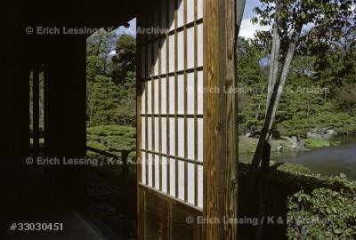 "Kobori Enshu designed and built Villa Katsura and its gardens for prince Toshito in 1590. The villa is a triumph of simplicity and precision, a ""mirror image of the esoteric Japanese mind"". Interior of Villa Katsura."