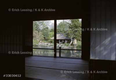 """Kobori Enshu designed and built villa Katsura and its gardens for prince Toshito in 1590. The villa is a triumph of simplicity and precision, a """"mirror image of the esoteric Japanese mind"""". A small tea-house seen from the villa."""