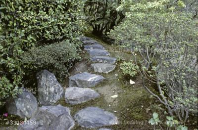 Kobori Enshu designed and built villa and gardens for prince Toshito in 1590. A narrow footpath in the gardens of Villa Katsura.
