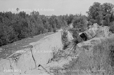 """Wolfsschanze (""""wolf's lair"""") in Rastenburg, East Prussia. Hitler's last redoubt before his death in Berlin. The bunker was also the scene of Hitler's failed assassination attempt in July 1944."""