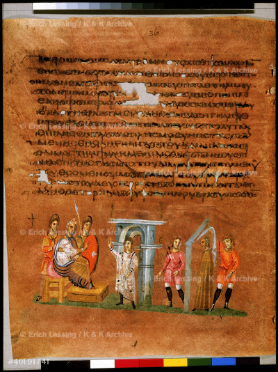 Full page: text and miniature: Joseph interpreting the Pharaoh's dreams