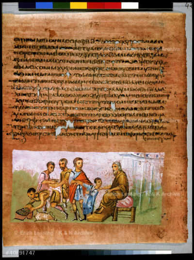 Full page: text and miniature: Jacob entrusting Benjamin to Judah and sending presents