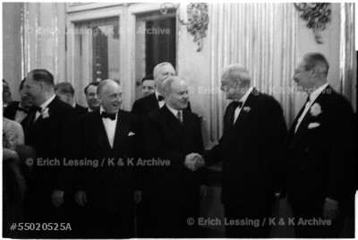 US-Secretary of State John Foster Dulles and Soviet Foreign minister Vyacheslav Molotov at the reception given in Schoenbrunn Palace after the signing of the Austrian State Treaty, May 15, 1955.