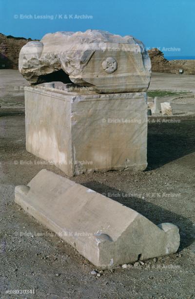 Early Christian sarcophagus                            Caesarea, Israel