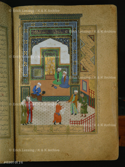 A meeting of scientists, from a book of tales.         From Herat, Afghanistan, 1488                          30.5 x 21.5 cm, see also 02-01-01/27                   Inv.Ms Arab Farsi 908
