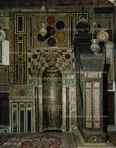 Mihrab and Minbar in the mosque of Ahmad al-Burdayni.  