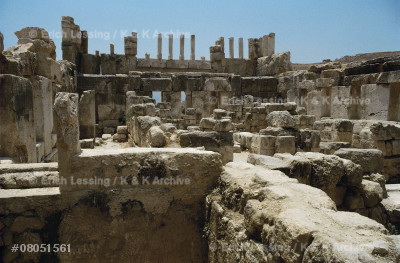 """The """"Palace of the Slave""""(Qasr el-Abd) in Wadi es-Sir,West of Amman.A palace built as a refuge by Hyrkanusof the Tobiad-family who retreated to Wadi es-Sir toavoid political and family persecution. 190-175 BCE.The palace rose from a platform in an artificial lake."""