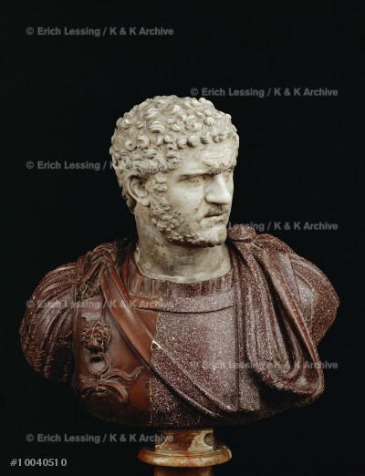 Emperor Caracalla (211-217 CE)                         Marble head;porphyry bust not contemporary.            Inv. 464